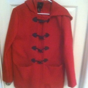 Forever 21 Hooded Pea Coat- Large Red